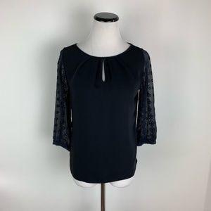 Hale Bob Silk Lace Back Long Sleeve Top Black XXS